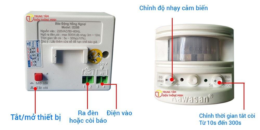 Có ngỏ ra kết nối với đèn và loa phụ giúp việc chống trộm thêm hiệu quả. Mắt hồng ngoại cho góc quét: ngang 100 độ, quét dọc 30 độ có thể lắp đặt báo trộm cho cửa cổng, sân vườn, lan can...vv