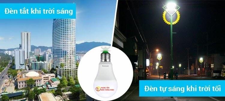 Đèn cảm biến ánh sáng hoạt động dựa vào sự chênh lệch của ánh sáng môi trường